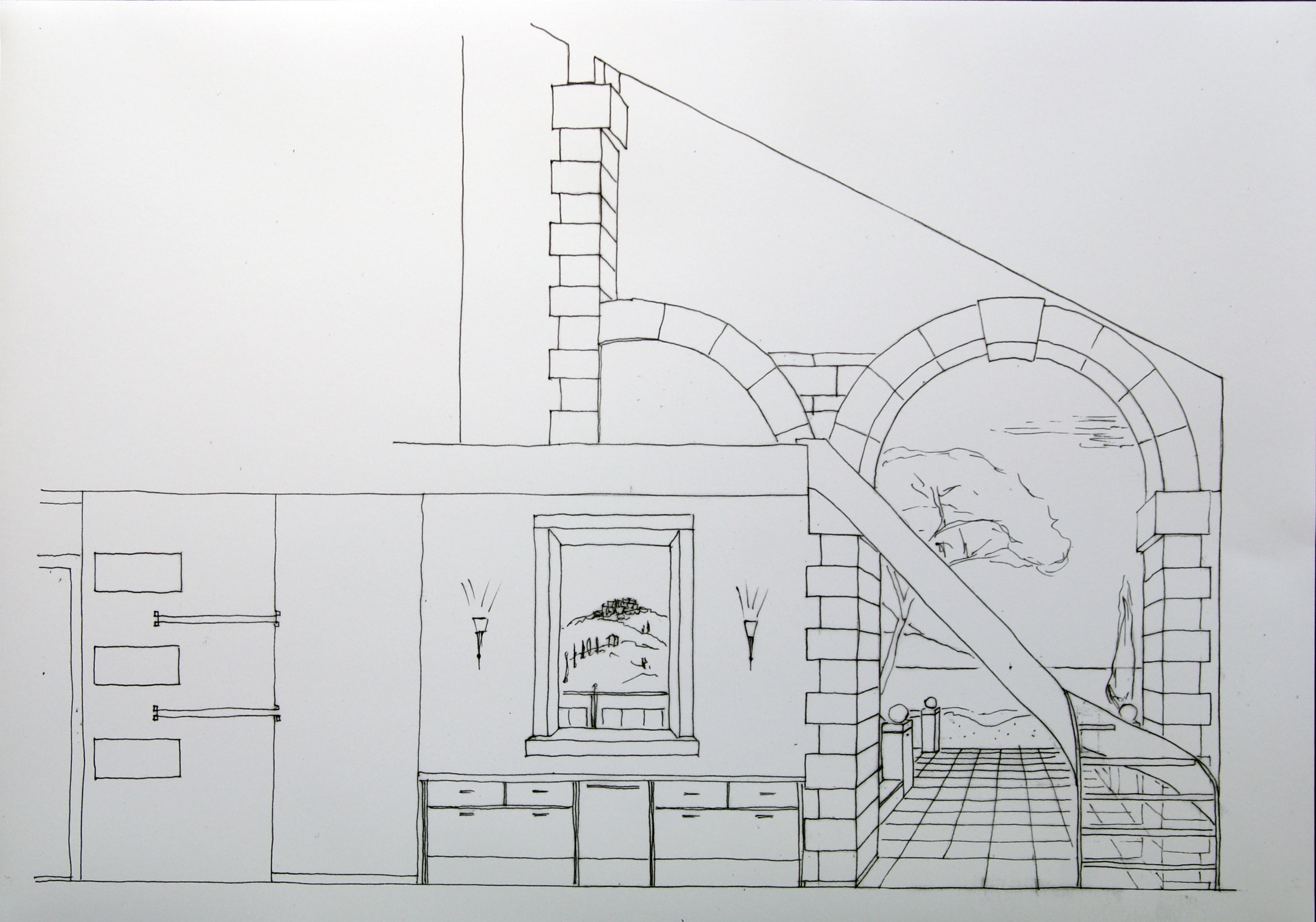 Entwurf für Wandbild vor der Treppe